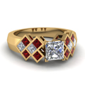 yellow-gold-princess-white-diamond-engagement-wedding-ring-with-red-ruby-in-channel-bezel-set-FDENR1751PRRGRUDR-NL-YG