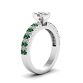 white-gold-cushion-white-diamond-engagement-wedding-ring-with-green-emerald-in-prong-set-FDENR2737CURGEMGRANGLE2-NL-WG
