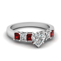 7 stone heart diamond engagement ring with ruby in FDENS1027HTRGRUDR NL WG