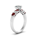 7 stone heart diamond engagement ring with ruby in FDENS1027HTRGRUDRANGLE2 NL WG