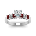 7 stone heart diamond engagement ring with ruby in FDENS1027HTRGRUDRANGLE5 NL WG