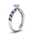 rope design heart diamond ring with sapphire in FDENS3048HTRGSABLANGLE2 NL WG 30