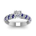rope design heart diamond ring with sapphire in FDENS3048HTRGSABLANGLE5 NL WG 30