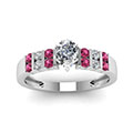 2 row bar set pear diamond ring with pink sapphire in FDENS3072PERGSADRPIANGLE5 NL WG