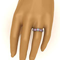 2 row bar set pear diamond ring with pink sapphire in FDENS3072PERGSADRPIHAND NL WG