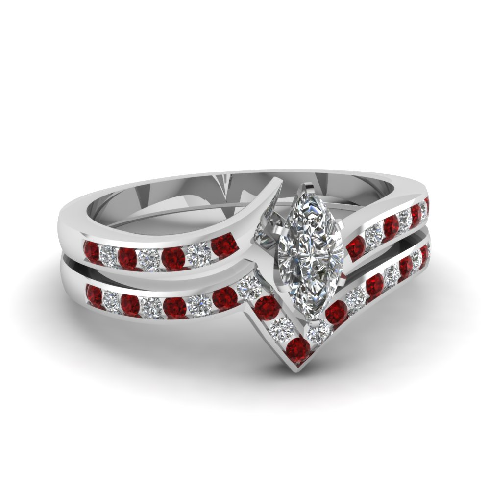 twist channel marquise diamond wedding set with ruby in fdens3094mqgrudr nl wg 30 - Ruby Wedding Ring Sets