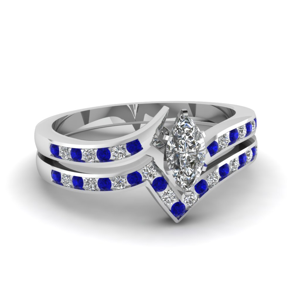 twist channel marquise diamond wedding set with sapphire in fdens3094mqgsabl nl wg 30 - Blue Sapphire Wedding Ring Sets